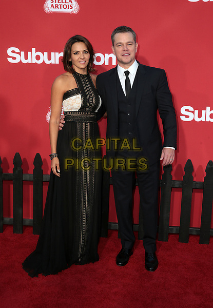 WESTWWOD, CA - October 22: Matt Damon, Luciana Barroso, At The Premiere Of Paramount Pictures' 'Suburbicon' At the Village Theatre California on October 22, 2017. <br /> CAP/MPI/FS<br /> &copy;FS/MPI/Capital Pictures