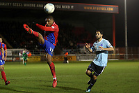 Fabien Robert of Aldershot Town and Andre Boucaud of Dagenham  during Dagenham & Redbridge vs Aldershot Town, Vanarama National League Football at the Chigwell Construction Stadium on 10th February 2018