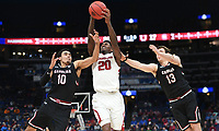 NWA Democrat-Gazette/CHARLIE KAIJO Arkansas Razorbacks forward Darious Hall (20) takes a pass as South Carolina Gamecocks forward Justin Minaya (10) and forward Felipe Haase (13) cover during the Southeastern Conference Men's Basketball Tournament, Thursday, March 8, 2018 at Scottrade Center in St. Louis, Mo.