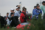 Team Captain Nick Faldo alongside Paul Casey watching the action on he 18th tee during the first round of the Seve Trophy at The Heritage Golf Resort, Killenard,Co.Laois, Ireland 27th September 2007 (Photo by Eoin Clarke/GOLFFILE)