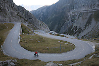 Cyclist Soloing Gotthard Pass - Switzerland