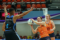 All Stars Claire Kersten throws the pass during the Cadbury Netball Series match between NZ Men and All Stars at the Bruce Pullman Arena in Papakura, New Zealand on Friday, 28 June 2019. Photo: Dave Lintott / lintottphoto.co.nz
