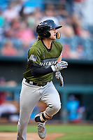 Biloxi Shuckers shortstop Jake Hager (2) runs to first base during a game against the Jacksonville Jumbo Shrimp on June 8, 2018 at Baseball Grounds of Jacksonville in Jacksonville, Florida.  Biloxi defeated Jacksonville 5-3.  (Mike Janes/Four Seam Images)
