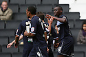 Lucas Akins of Stevenage (r) scores the winning goal and celebrates. MK Dons v Stevenage - npower League 1 - Stadium MK,  Milton Keynes - 20th October, 2012. © Kevin Coleman 2012