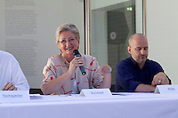 """13th Biennale of Architecture..Giardini..Austrian Pavillion..Wolfgang Tschapeller, Rens Veltman, Martin Perktold, """"hands have no tears to flow..."""", 2012..Press conference with from l.: Minister of Culture Claudia Schmied, Comissioner Arno Ritter."""