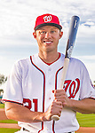 28 February 2016: Washington Nationals left fielder Matt den Dekker poses for his Spring Training Photo-Day portrait at Space Coast Stadium in Viera, Florida. Mandatory Credit: Ed Wolfstein Photo *** RAW (NEF) Image File Available ***