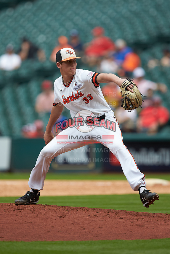 Sam Houston State Bearkats relief pitcher Landon Ausley (33) in action against the Vanderbilt Commodores in game one of the 2018 Shriners Hospitals for Children College Classic at Minute Maid Park on March 2, 2018 in Houston, Texas. The Bearkats walked-off the Commodores 7-6 in 10 innings.   (Brian Westerholt/Four Seam Images)