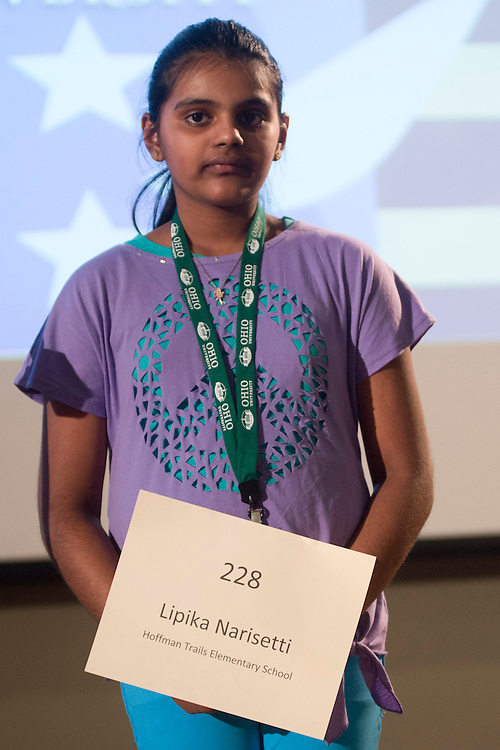 Lipika Narisetti of Hoffman Trails Elementary School introduces herself during the Columbus Metro Regional Spelling Bee Regional Saturday, March 16, 2013. The Regional Spelling Bee was sponsored by Ohio University's Scripps College of Communication and held in Margaret M. Walter Hall on OU's main campus.
