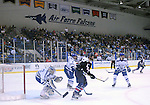 February 20, 2016 - Colorado Springs, Colorado, U.S. -   Atlantic Hockey Association action in front of the Air Force Academy goal during an NCAA ice hockey game between the Robert Morris University Colonials and the Air Force Academy Falcons at Cadet Ice Arena, United States Air Force Academy, Colorado Springs, Colorado.  Air Force defeats Robert Morris 4-1