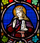 Church of Saint Edmund, Bromeswell, Suffolk, England, UK stained glass window of Saint Barbara
