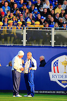 Captain Paul McGinley and Vice Captain Sam Torrence (EUR) confer on the 1st tee to during Saturday Mornings Fourball Matches  of the Ryder Cup 2014 played on the PGA Centenary Course at the Gleneagles Hotel, Auchterarder, Scotland.: Picture Eoin Clarke/www.golffile.ie: 27th September 2014