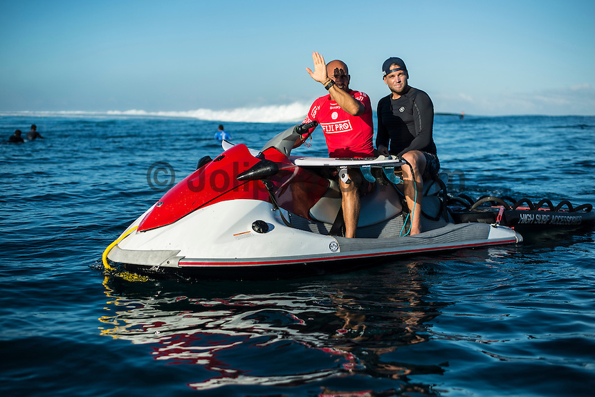 Namotu Island Resort, Nadi, Fiji (Thursday, June 16 2016):  kelly Slater (USA) and Kurt Munro (AUS) - The Fiji Pro, stop No. 5 of 11 on the 2016 WSL Championship Tour, was recommenced today at Cloudbreak with a consistent SSW swell in the 6'-8' range. <br /> Rounds 4 and 5 were completed in perfect conditions with a number of rides in the excellent range including two perfect 10 point rides form Gabriel Medina (BRA) and Kelly Slater (USA).<br /> The contest will wrap up tomorrow in what is shaping up as another perfect surf day.<br /> Photo: joliphotos.com