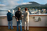 USA, Alaska, Ketchikan, passengers take photos as they enter the Port of Ketchikan