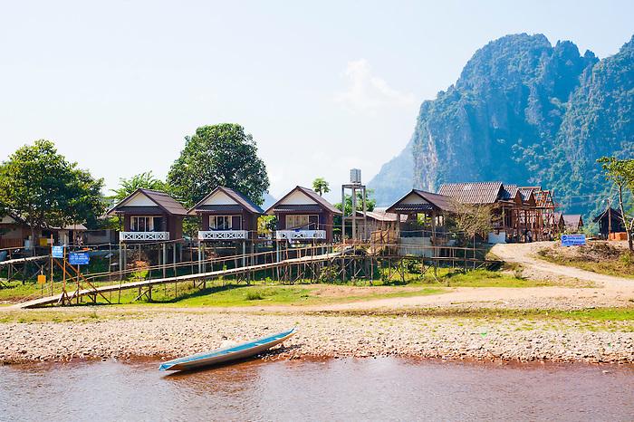 Bamboo Hut Accommodation on the Mekong River at Vang Vieng, Laos