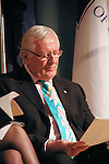 Len Cariou reads notes on stage at the John Jay Justice Award ceremony, April 5 2011.