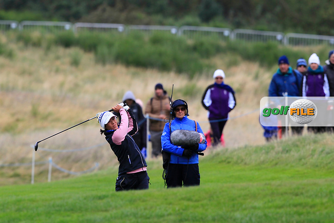 Celine Boutier of Team Europe on the 2nd fairway during Day 2 Fourball at the Solheim Cup 2019, Gleneagles Golf CLub, Auchterarder, Perthshire, Scotland. 14/09/2019.<br /> Picture Thos Caffrey / Golffile.ie<br /> <br /> All photo usage must carry mandatory copyright credit (© Golffile | Thos Caffrey)
