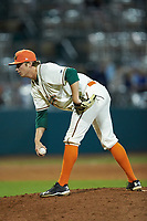 Greensboro Grasshoppers relief pitcher Nick Mears (49) looks to his catcher for the sign against the Hagerstown Suns at First National Bank Field on April 6, 2019 in Greensboro, North Carolina. The Suns defeated the Grasshoppers 6-5. (Brian Westerholt/Four Seam Images)