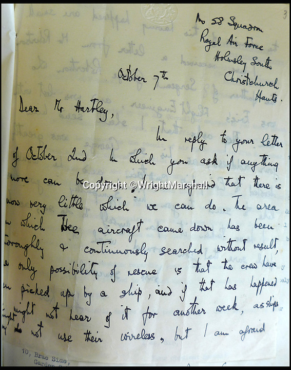BNPS.co.uk (01202 558833)<br /> Pic: WrightMarshall/BNPS<br /> <br /> A letter to Eric Hartley's father informing him that there isn't much more that can be down with the search.<br /> <br /> An incredible diary revealing how six hero airmen survived 11 days at sea in a dinghy by using their underpants for a fishing net and their shirts for a sail has been found after 73 years.<br /> <br /> Flying Officer Eric Hartley kept the log of the daily struggle for survival the crew of a Halifax bomber endured after it was shot down by a German U-boat whose captain was nicknamed Count Dracula.<br /> <br /> Six of the eight crew survived and climbed into the small open rubber dinghy and were left at the mercy of the sea for nearly two weeks until they were spotted by a Royal Navy destroyer off Ireland in October 1943.