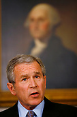 Washington, D.C. - March 20, 2007 -- United States President George W. Bush speaks about the U.S. Attorney matter in the Diplomatic Reception Room of the White House March 20, 2007 in Washington, DC. The White House has agreed to allow Deputy Chief of Staff Karl Rove and former White House Counsel Harriet Miers to be interviewed by congressional committees investigating the matter. <br /> Credit: Win McNamee - Pool via CNP