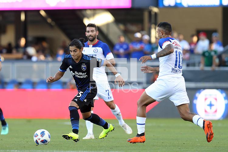 San Jose, CA - Saturday October 13, 2018: Gilbert Fuentes during a friendly match between the San Jose Earthquakes and Cruz Azul at Avaya Stadium.