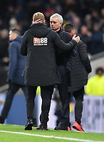 30th November 2019; Tottenham Hotspur Stadium, London, England; English Premier League Football, Tottenham Hotspur versus AFC Bournemouth; Eddie Howe Manager for Bournemouth embraces Jose Mourinho Manager of Tottenham Hotspur after the match - Strictly Editorial Use Only. No use with unauthorized audio, video, data, fixture lists, club/league logos or 'live' services. Online in-match use limited to 120 images, no video emulation. No use in betting, games or single club/league/player publications