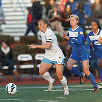 Chicago Red Stars midfielder Lori Chalupny (17) on the attack.  In a National Women's Soccer League Elite (NWSL) match, the Boston Breakers (blue) defeated Chicago Red Stars (white), 4-1, at Dilboy Stadium on May 4, 2013.