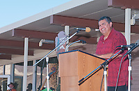 George Gholson, Chairman of the Timbisha Shoshone Tribe, addresses the audience at the Grand Re-Opening of the Furnace Creek Visitor Center in Death Valley National Park, California, on November 4, 2012.