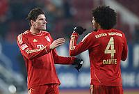 FUSSBALL   1. BUNDESLIGA  SAISON 2012/2013   16. Spieltag FC Augsburg - FC Bayern Muenchen         08.12.2012 Jubel  Mario Gomez und Dante (v. li., FC Bayern Muenchen)