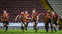 Bradford City players celebrate there dramatic penalty shootout win over Stoke City during the FA Youth Cup match between Bradford City U18 and Stoke City U18 at the Northern Commercial Stadium, Bradford, England on 12 December 2019. Photo by Thomas Gadd.