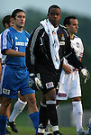 24 August 2004: Bo Oshoniyi (front), Nick Garcia (3), and Landon Donovan (behind, right) march onto the field for the start of the game. The Kansas City Wizards defeated the San Jose Earthquakes 1-0 at Blue Valley District Athletic Complex in Overland Park, KS in a semifinal game in the 2004 Lamar Hunt U.S. Open Cup..