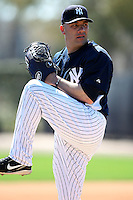 February 25, 2010:  Pitcher Alfredo Aceves of the New York Yankees during practice at Legends Field in Tampa, FL.  Photo By Mike Janes/Four Seam Images