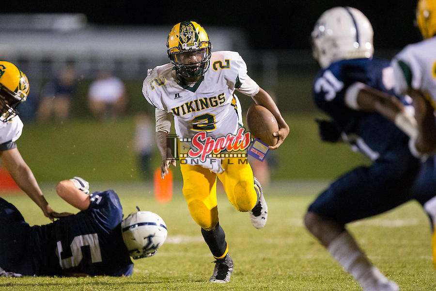 Daiyaan Fuller (2) of the Central Cabarrus Vikings runs with the football during first half action against the Hickory Ridge Ragin' Bulls at Hickory Ridge High School on September 26, 2014 in Harrisburg, North Carolina.  The Ragin' Bulls defeated the Vikings 21-17.  (Brian Westerholt/Sports On Film)