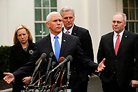 United States Vice President Mike Pence briefs reporters following a meeting with the president and congressional leaders on the government shutdown, at the White House, in Washington, D.C., 1-9-19. Behind Pence are, from left to right: US Secretary of Homeland Security (DHS) Kirstjen Nielsen, US House Minority Leader Kevin McCarthy (Republican of California), and US House Minority Whip Steve Scalise (Republican of Louisiana). Photo Credit: Martin H. Simon/CNP/AdMedia