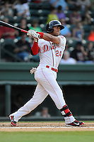 Second baseman Yoan Moncada (24) of the Greenville Drive in a game against the Charleston RiverDogs on Monday, June 29, 2015, at Fluor Field at the West End in Greenville, South Carolina. The Cuban-born 19-year-old Red Sox signee has been ranked the No. 1 international prospect in baseball by Baseball America. Greenville won, 4-2. (Tom Priddy/Four Seam Images)