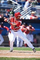 Batavia Muckdogs catcher Roy Morales (34) at bat during a game against the Williamsport Crosscutters on July 16, 2015 at Dwyer Stadium in Batavia, New York.  Batavia defeated Williamsport 4-2.  (Mike Janes/Four Seam Images)