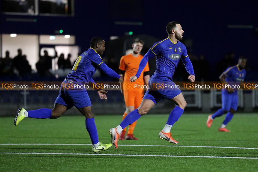 Louie Theophanous of Romford scores the second goal for his team and celebrates during Romford vs Brentwood Town, BetVictor League North Division Football at Parkside on 11th February 2020