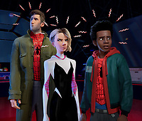 SPIDER-MAN: INTO THE SPIDER-VERSE (anim., 2018)<br /> Peter Parker (Jake Johnson), Gwen Stacy (Hailee Steinfeld) and Miles Morales (Shameik Moore)<br /> *Filmstill - Editorial Use Only*<br /> CAP/FB<br /> Image supplied by Capital Pictures