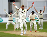 Calum Haggett appeals during day 1 of the four day tour match between Kent CCC and Pakistan at the St Lawrence Ground, Canterbury, on Sat April 28, 2018