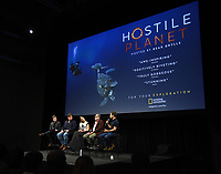 """LOS ANGELES - APRIL 15: Moderator Ben Travers, composer Benjamin Wallfisch, director Sophie Morgan, executive producer Guillermo Navarro, and cameraman David Reichert attend an FYC screening and Q&A for National Geographic's """"Hostile Planet"""" at NeueHouse on April 15, 2019 in Los Angeles, California. (Photo by Frank Micelotta/National Geographic/PictureGroup)"""