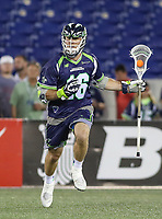 Annapolis, MD - July 7, 2018: Chesapeake Bayhawks Mark Glicini (16) in action during the game between New York Lizards and Chesapeake Bayhawks at Navy-Marine Corps Memorial Stadium in Annapolis, MD.   (Photo by Elliott Brown/Media Images International)