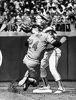 Oakland A's 2nd baseman Shooty Babitt takes throw ,<br />
