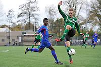 VOETBAL: HEERENVEEN: 07-11-2015, Heerenveense Boys - Zwaagwesteinde, uitslag 2-3, Ronaldo Jansen (#8), Dimer Leemburg (#7), uitslag 2-3, ©foto Martin de Jong