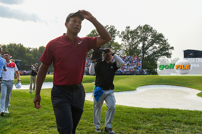 Tiger Woods (USA) departs 18 following the 4th round of the 100th PGA Championship at Bellerive Country Club, St. Louis, Missouri. 8/12/2018.<br /> Picture: Golffile | Ken Murray<br /> <br /> All photo usage must carry mandatory copyright credit (© Golffile | Ken Murray)