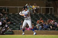 Scottsdale Scorpions designated hitter Peter Alonso (20), of the New York Mets organization, at bat in front of catcher Daulton Varsho (8) during an Arizona Fall League game against the Salt River Rafters at Salt River Fields at Talking Stick on October 11, 2018 in Scottsdale, Arizona. Salt River defeated Scottsdale 7-6. (Zachary Lucy/Four Seam Images)