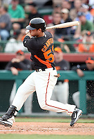 Brandon Crawford #53 of the San Francisco Giants bats against the Arizona Diamondbacks in the first spring training game of the season at Scottsdale Stadium on February 25, 2011  in Scottsdale, Arizona. .Photo by:  Bill Mitchell/Four Seam Images.