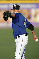 Garrett Richards of the Rancho Cucamonga Quakes during game against the Inland Empire 66'ers at The Epicenter in Rancho Cucamonga,California on August 7, 2010. Photo by Larry Goren/Four Seam Images