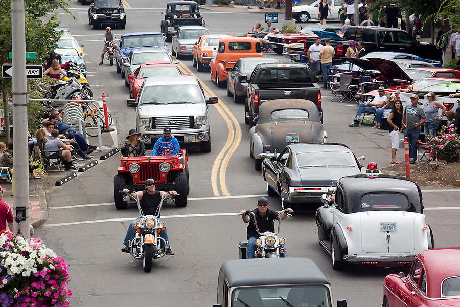 "New and vintage cars, and motorcycles move bumper to bumper up and down Main Street in downtown Vancouver Saturday July 16, 2016. ""Cruisin' the Gut""  is an annual event in which antique car enthusiasts drive up and down main street,. (Photo by Natalie Behring/ for the The Columbian)"