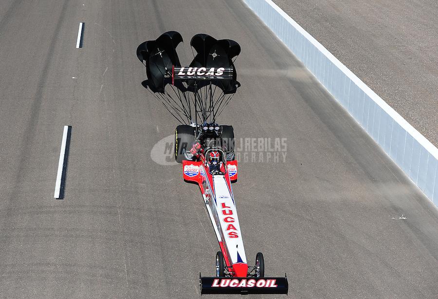 Oct. 16, 2011; Chandler, AZ, USA; NHRA top fuel dragster driver Shawn Langdon during the Arizona Nationals at Firebird International Raceway. Mandatory Credit: Mark J. Rebilas-