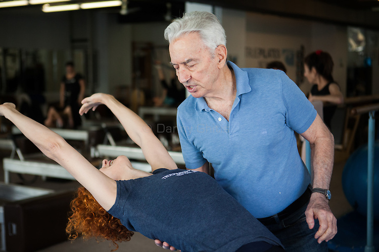 Ivo Lupis, 84, has been working as a personal trainer on 57th St since 1967. His recently client age spans from ages 4-93, though he now mostly works with seniors. Pictured, Vivian Piccone Jung.