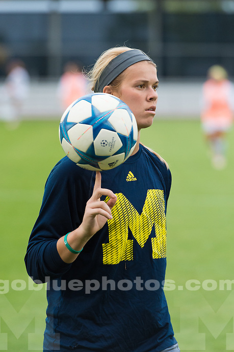 The University of Michigan women's soccer team; 2-1 victory over University of San Diego, at the Michigan Soccer Field in Ann Arbor, Mich. on August 27, 2015.